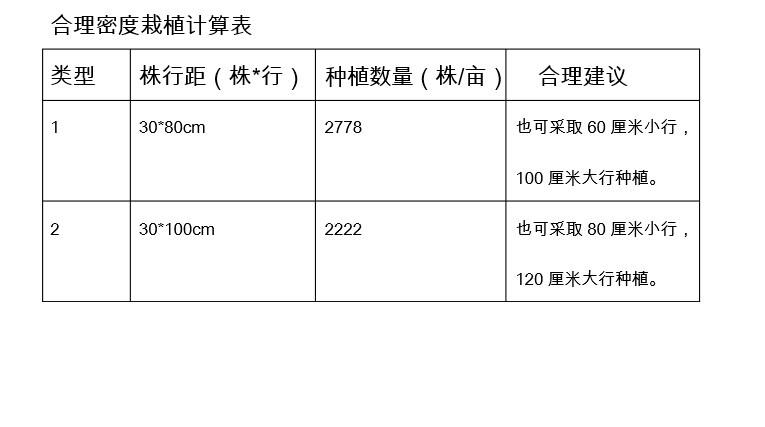美国红枫组培苗合理密度栽植计算表